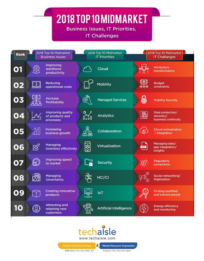 2018 top10 mid market it priorities business issues techaisle infographics low res