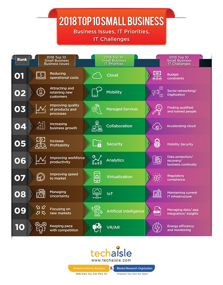2018 top10 small business it priorities business issues techaisle infographics resized