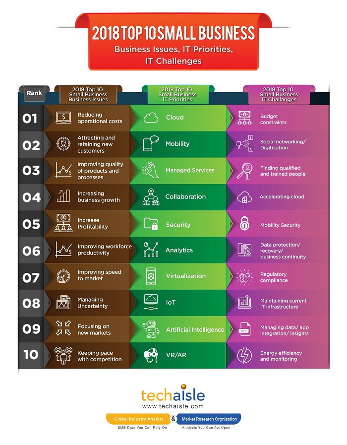 2018 top10 small business it priorities business issues techaisle infographics low res